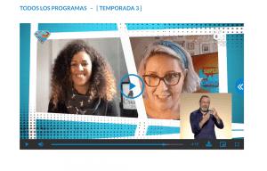 pantallazo del programa Supercapaces donde se ve a Ana Belén Castillo, presentadora, Geraldine Litmanovich de Criando 24/7 y al intérprete de LSE