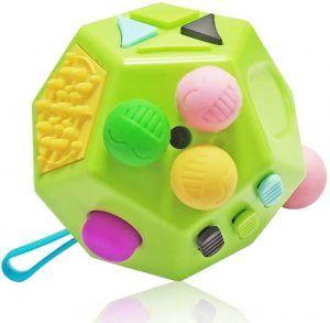 fidget cubo para descompresión sensorial con varios botones y usos