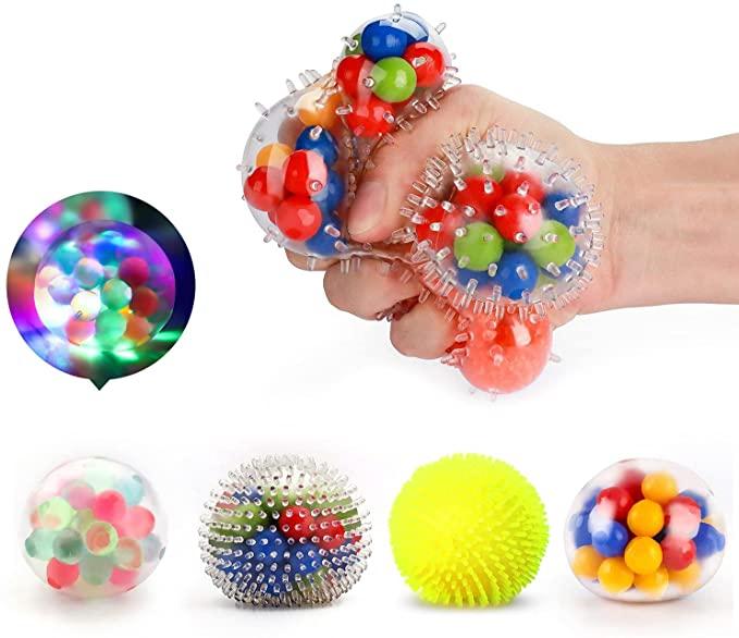 fidget para estrujar, pelota blanda llena de pelotitas