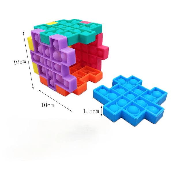 fidget pop it cubo de silicona puzzle de colores