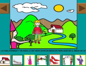 pantallazo del cuento gratis con pictogramas del mago de oz, donde se ve una imagen de Dorita con el texto de esa pagina y los pictogramas