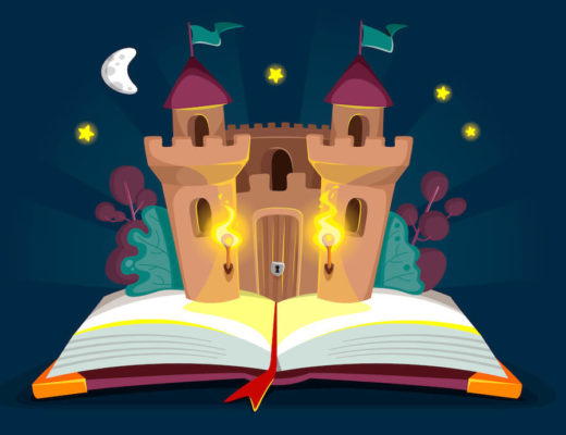 ilustración de un libro abierto del que sale un castillo. En el fondo la noche oscura, estrellas y una medialuna