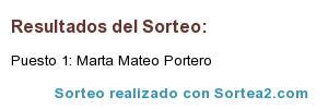 captura de pantalla del sorteo. Ganadora Marta Mateo Portero