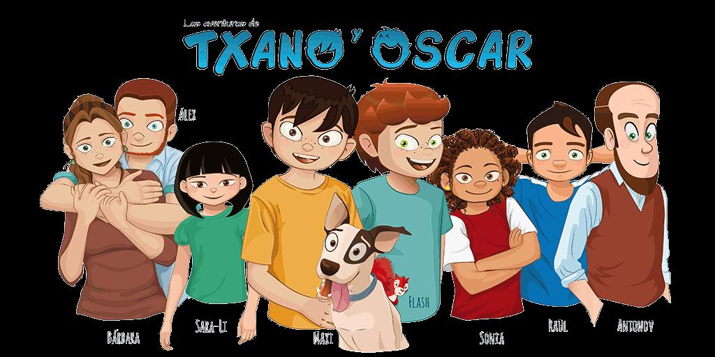 ilustración con los protagonistas de los libros de Las aventuras de Txano y Óscar.