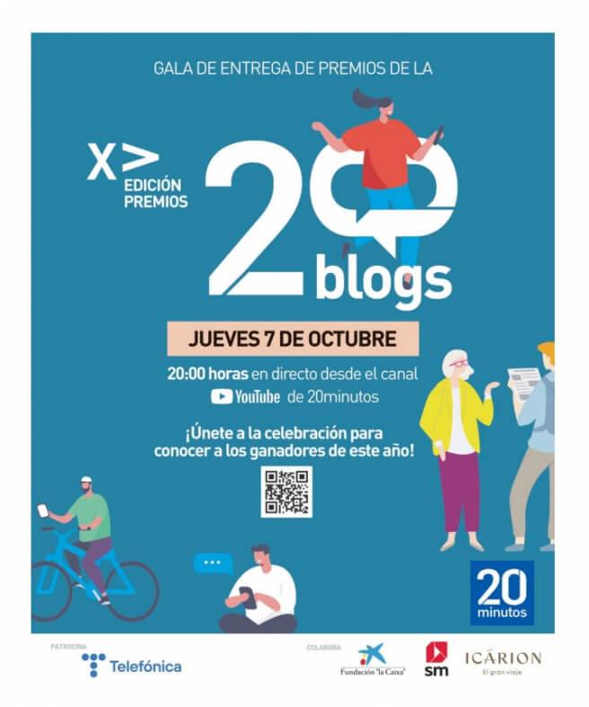 Premios 20 blogs. Gala jueves 7 de octubre 20 hs en directo desde el canal de youtube de 20minutos